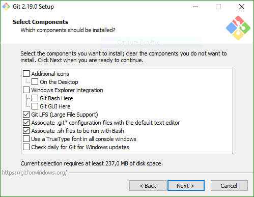 Install Git, Select components screen