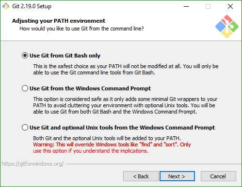 Install Git, Adjusting your PATH environment screen